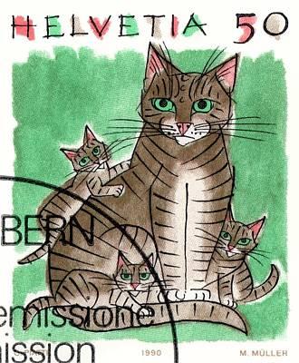 Swiss Digital Art - 1990 Switzerland Cats Postage Stamp by Retro Graphics