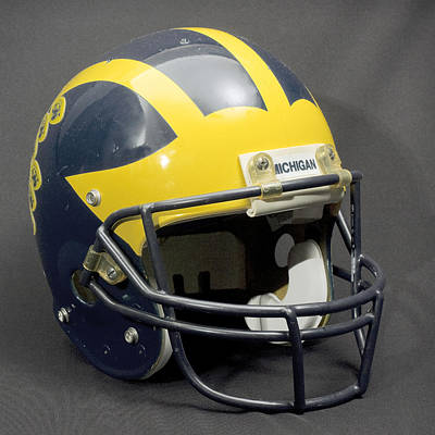 Photograph - 1990s Wolverine Helmet by Michigan Helmet