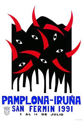 Bullfight Digital Art - 1991 Pamplona Spain Running Of The Bulls Poster by Retro Graphics