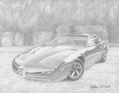 Pontiac Drawing - 1991 Pontiac Firebird Classic Car Art Print by Stephen Rooks