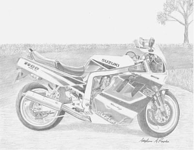 Suzuki Mixed Media - 1991 Suzuki Gsx-r1100 Motorcycle Art Print by Stephen Rooks