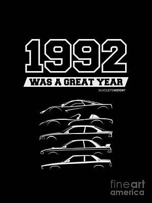 Subaru Impreza Digital Art - 1992 Was A Great Year Silhouettehistory by Gabor Vida