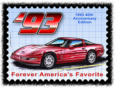 Special Edition Corvettes Drawing - 1993 40th Anniversary Edition Corvette by K Scott Teeters