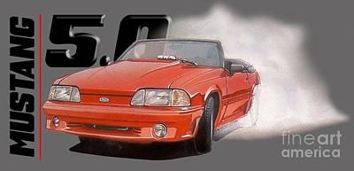 1993 Ford Mustang Burnout Art Print