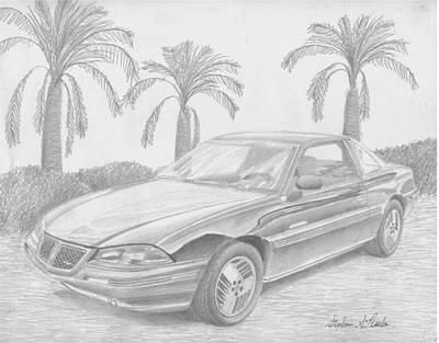Pontiac Drawing - 1993 Pontiac Grand Am Se Classic Car Art Print by Stephen Rooks