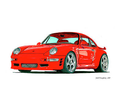 Painting - 1993 Porsche Twin Turbo by Jack Pumphrey
