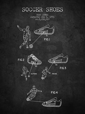 Football Royalty-Free and Rights-Managed Images - 1993 Soccer Shoes Patent - Charcoal - NB by Aged Pixel