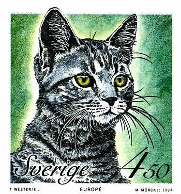Breeds Digital Art - 1994 Sweden European Cat Postage Stamp by Retro Graphics