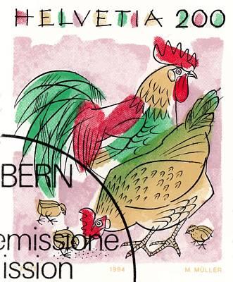 Chicken Digital Art - 1994 Switzerland Rooster Postage Stamp by Retro Graphics