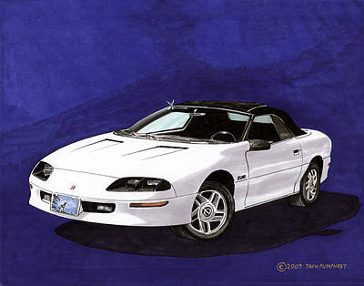 Wild Horse Paintings - 1995 Camaro Convertible by Jack Pumphrey
