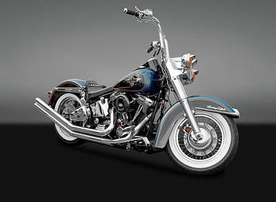 Photograph - 1995 Harley-davidson Heritage Softail Motorcycle  -  95harleyherisoftgry170264 by Frank J Benz