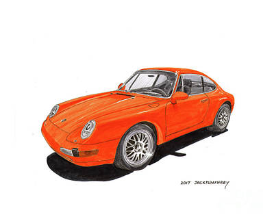 Painting - 1995 Porsche 911 by Jack Pumphrey