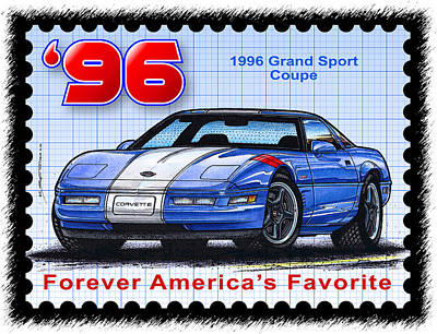 Special Edition Corvettes Drawing - 1996 Grand Sport Corvette by K Scott Teeters