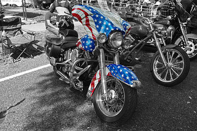 Photograph - 1996 Harley Davidson Heritage Softail Motorcycle We The People American Flag Bike by Robyn Stacey