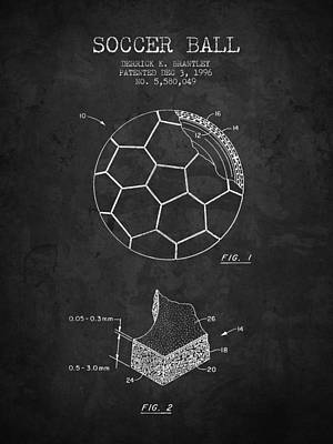 Football Royalty-Free and Rights-Managed Images - 1996 Soccer Ball Patent Drawing - Charcoal - NB by Aged Pixel