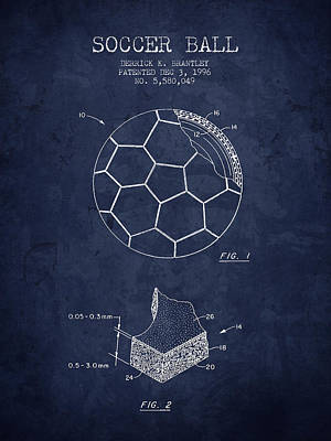 Football Royalty-Free and Rights-Managed Images - 1996 Soccer Ball Patent Drawing - Navy Blue - NB by Aged Pixel