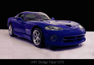Digital Art - 1997 Dodge Viper Gts Blue by Chris Flees