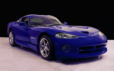 Painting - 1997 Dodge Viper Gts Blue Digital Oil by Chris Flees