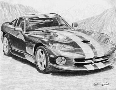 Viper Mixed Media - 1997 Dodge Viper Gts Sports Car Art Print by Stephen Rooks