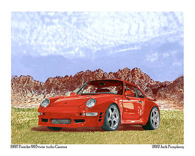 Painting - 1997 Porsche 993 Twin Turbo  by Jack Pumphrey
