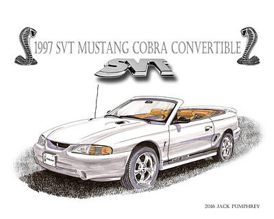 Cobra Drawing - 1997 Svt Mustang Cobra Poster by Jack Pumphrey