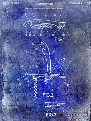 1998 Corkscrew Patent 2 Blue Art Print