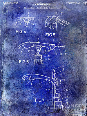 1998 Corkscrew Patent Blue Art Print by Jon Neidert