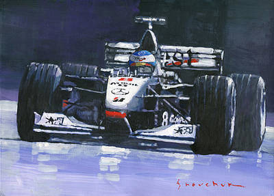 On Paper Painting - 1998 Mika Hakkinen World Champion Formula One  Mclaren Mp4-13 by Yuriy Shevchuk