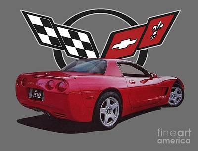 Recently Sold - Sports Royalty-Free and Rights-Managed Images - 1999 Corvette with Logo by Paul Kuras