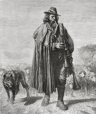Herding Dog Drawing - 19th Century Italian Shepherd With His by Vintage Design Pics
