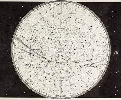 Astronomical Drawing - 19th Century Map Of The Northern by Vintage Design Pics