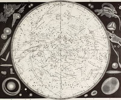 Astronomical Drawing - 19th Century Map Of The Southern by Vintage Design Pics