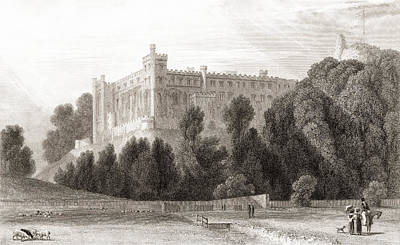 Arundel Castle Drawing - 19th Century View Of Arundel Castle by Vintage Design Pics