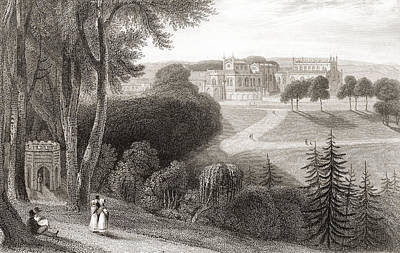 Bishop Drawing - 19th Century View Of Auckland Castle by Vintage Design Pics