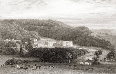 19th Century View Of Chatsworth House Art Print