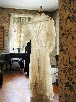Wooden Floors Photograph - 19th Century Wedding Dress by Susan Savad