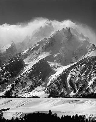 Photograph - 1m9314 Bw Clouds Linger Over The Tetons by Ed  Cooper Photography