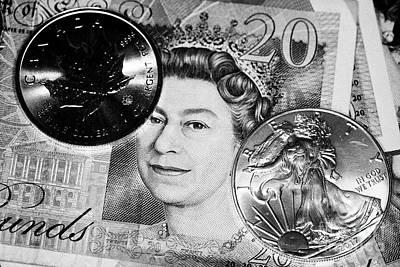 1oz Silver Bullion Coins And British Pounds Art Print
