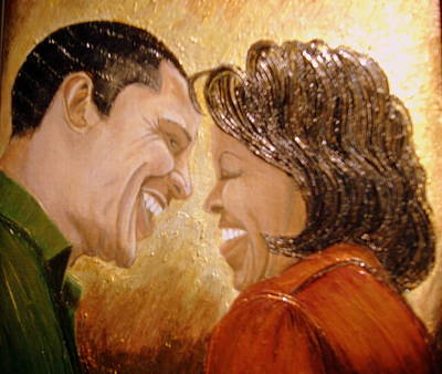 Michelle Obama Painting - 1st Couple  by Keenya  Woods