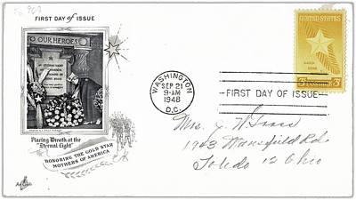 1st Day Cover Gold Star Mothers Number 1 1948 Color Added 2016 Art Print by David Lee Guss