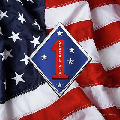 Digital Art - 1st Marine Division -  1st  M A R D I V  Insignia Over American Flag by Serge Averbukh