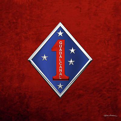 Digital Art - 1st Marine Division -  1st  M A R D I V  Insignia Over Red Velvet by Serge Averbukh