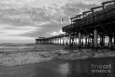 Photograph - 1st Sunrise 2017 Cocoa Beach Grayscale by Jennifer White