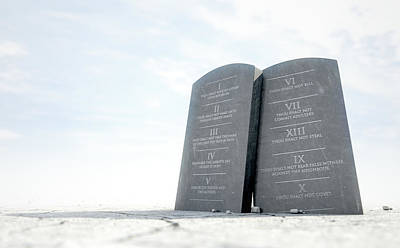 10 Commandments In Desert Print by Allan Swart