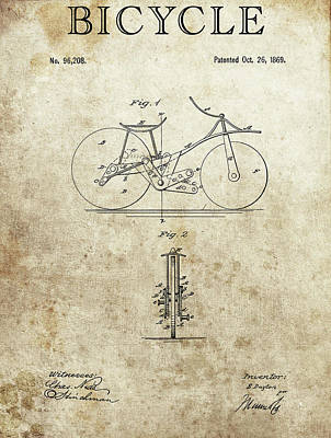 Drawing - 1869 Bicycle Patent by Dan Sproul