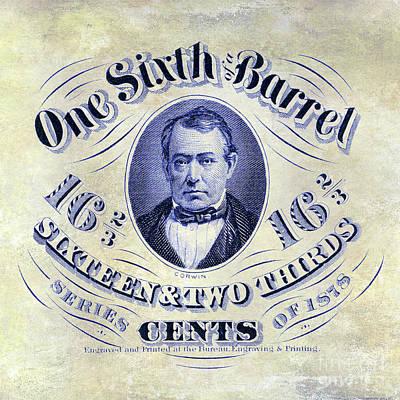 1878 Photograph - 1878 One Sixth Beer Barrel Tax Stamp by Jon Neidert