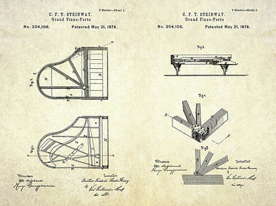 1878 Steinway Grand Piano-forte Patent Art S.2 Art Print