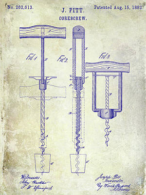 Wine-press Photograph - 1882 Corkscrew Patent by Jon Neidert