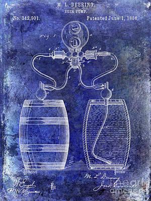 Americana Micro Art Photograph - 1886 Beer Pump Patent by Jon Neidert