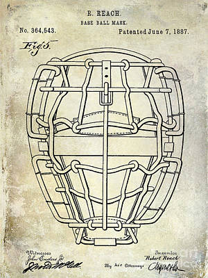 Baseball Mitt Photograph - 1887 Baseball Mask Patent  by Jon Neidert